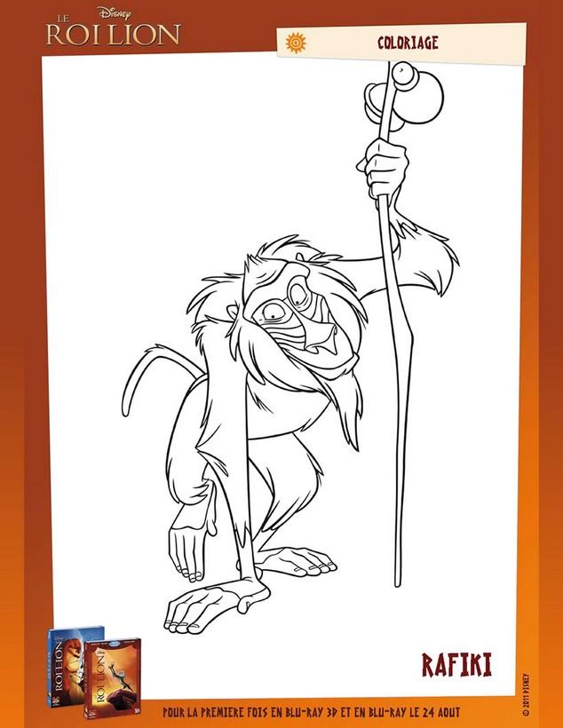 Coloriage de le roi lion dessin rafiki le vieux et sage babouin colorier - Le roi lion a colorier ...