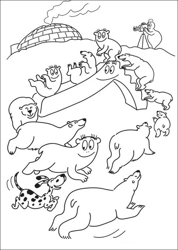 Coloriage de les barbapapa dessin avec des ours sur la - Dessin banquise ...