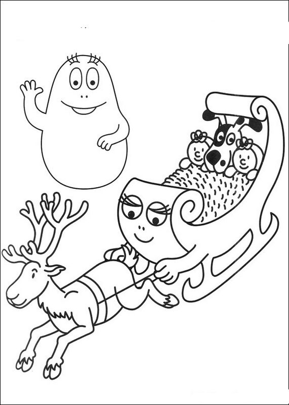 Coloriage de Les barbapapa, dessin Dans le traineau du papa noel à colorier