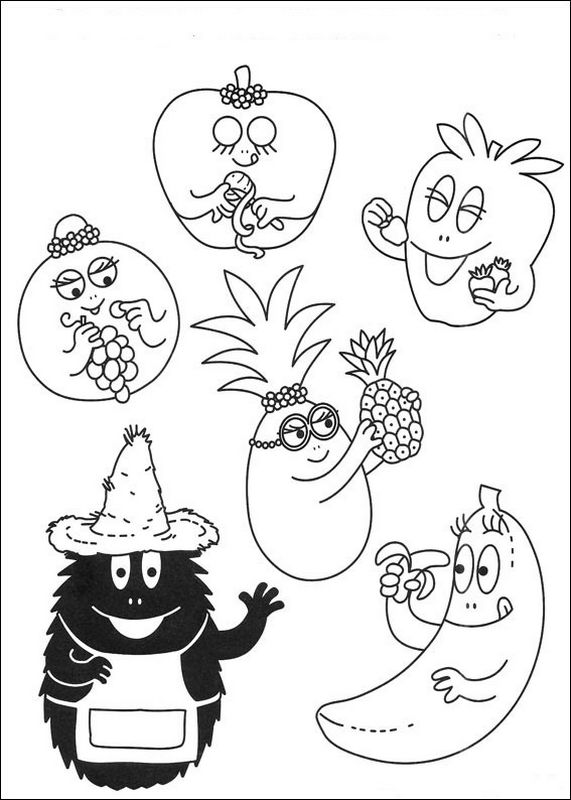 Coloriage de Les barbapapa, dessin Les Barbapapa en fruits ...