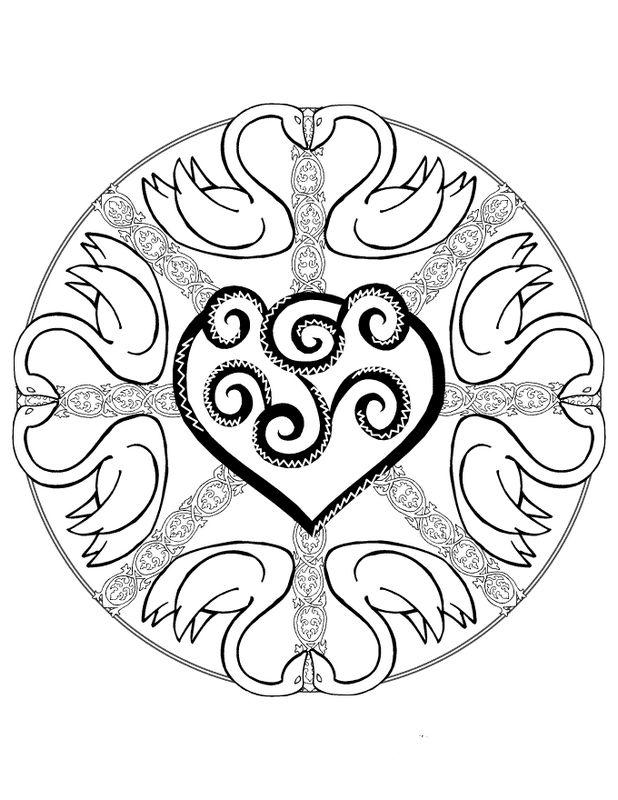Coloriage de mandala dessin des cygnes et un coeur au milieu colorier - Mandala de coeur ...