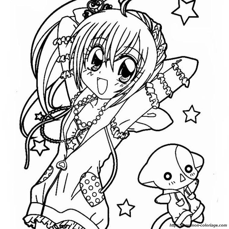 Coloriage de Manga, dessin kilari avec son chat à colorier