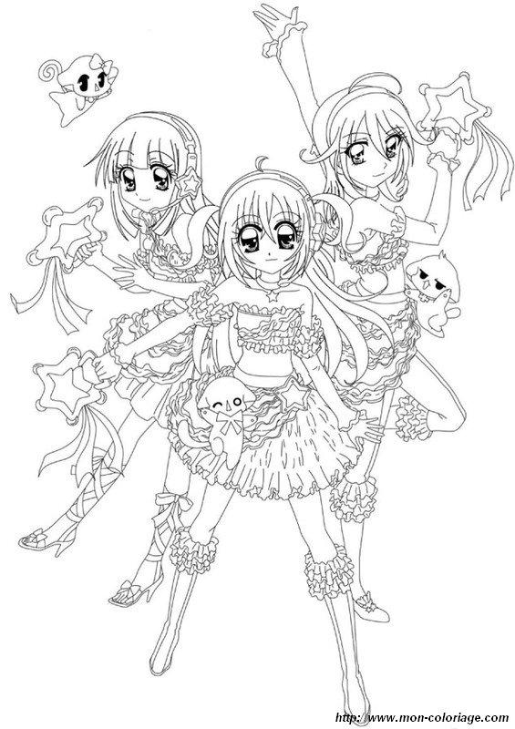 Coloriage de manga dessin kilari et ses amies colorier - Coloriage manga difficile ...