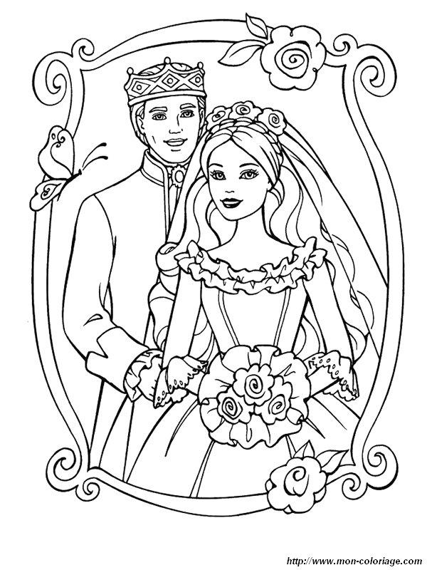 Coloriage de mariage dessin coloriage mariage barbie 2 jpg colorier - Coloriage mariage ...
