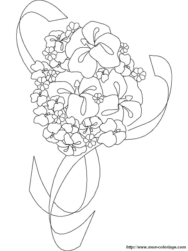 Coloriage de mariage dessin coloriage mariage bouquet for Bouquet par internet