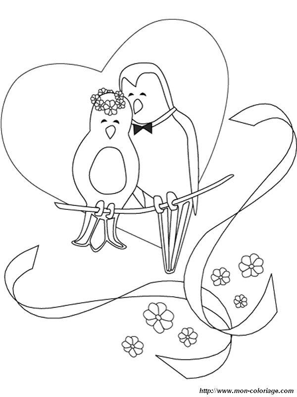 Coloriage mariage oiseaux