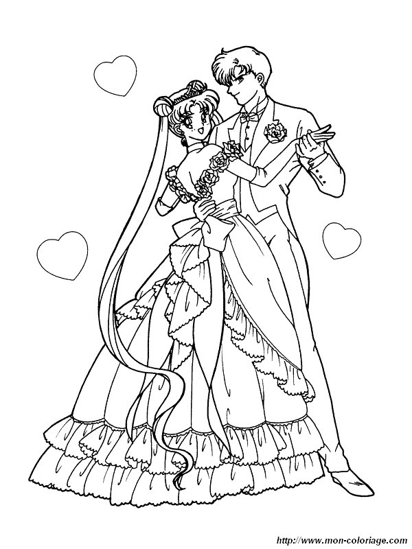 coloriage mariage sailor moon 2