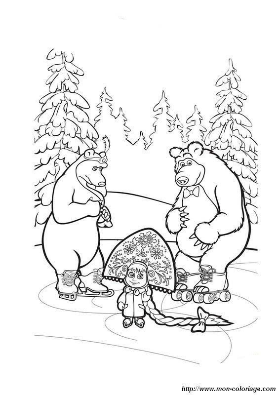 Coloriage de masha et michka dessin masha michka colorier for Masha e orso disegni da colorare