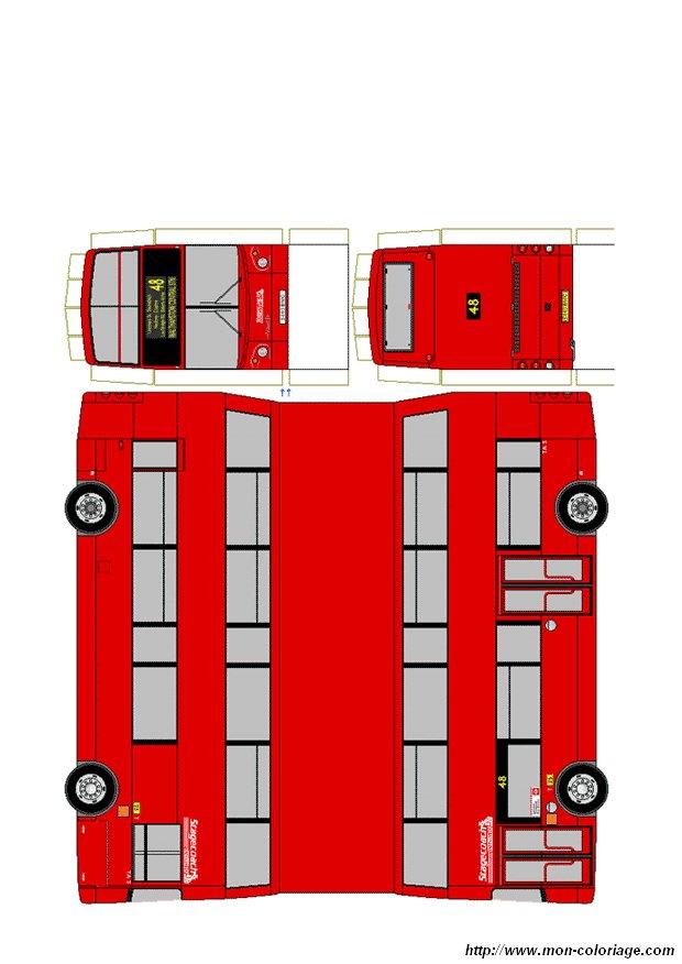 Coloriage De Découpage Ou Scrapbooking Dessin Bus Anglais à Colorier