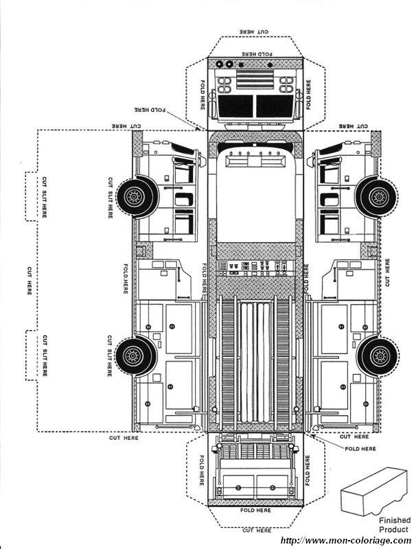 coloriage de découpage ou scrapbooking dessin camion de