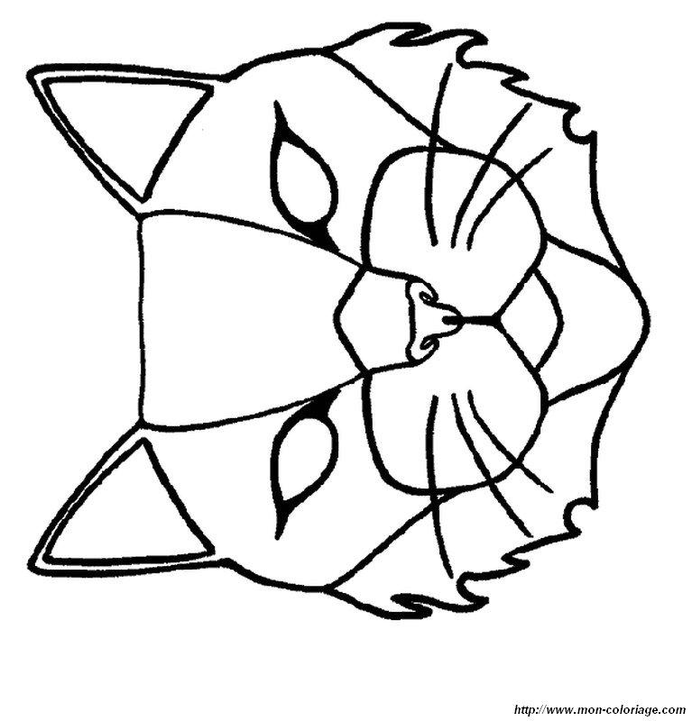 Coloriage de d coupage ou scrapbooking dessin joli masque - Masque de chat a colorier ...