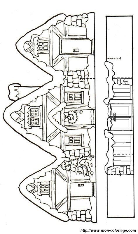 Coloriage de d coupage ou scrapbooking dessin maison du pere noel colorier - Decoupage maison a imprimer ...