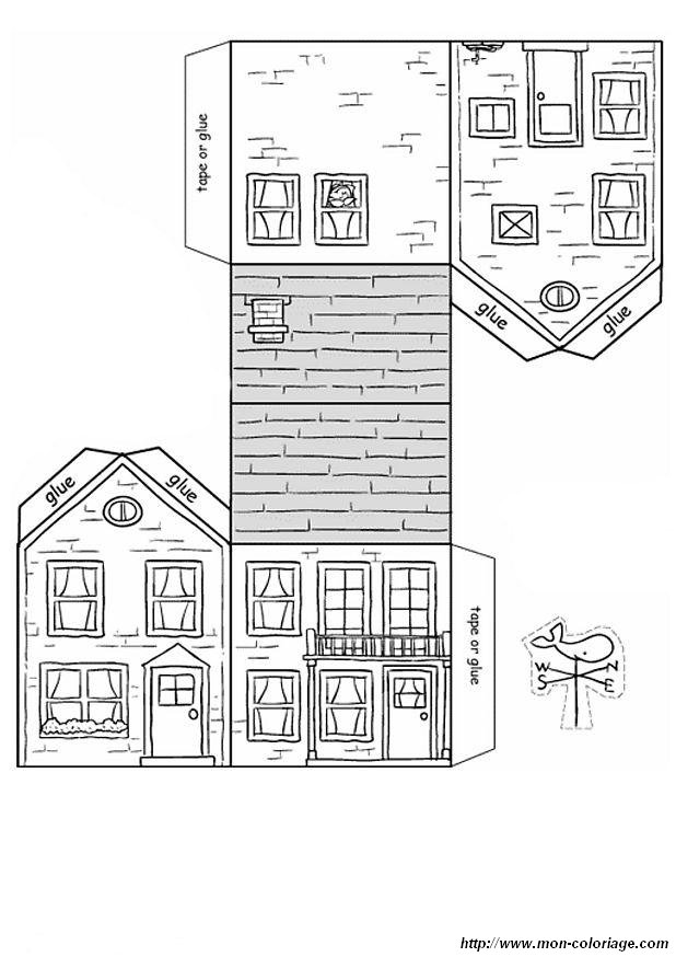 Coloriage de d coupage ou scrapbooking dessin maison colorier - Maison papier a decouper ...