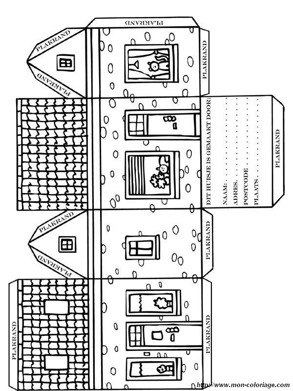 Coloriage de d coupage ou scrapbooking dessin village - Patron de maison en papier a imprimer ...