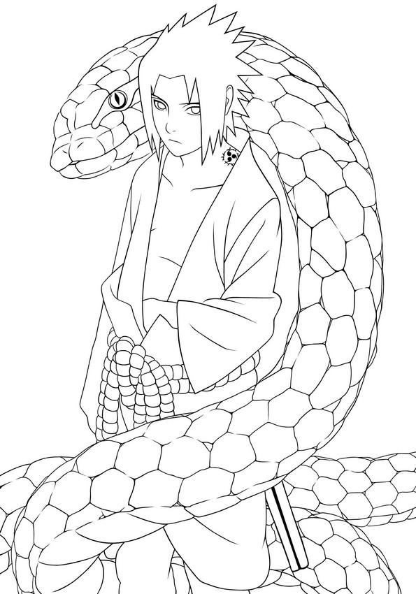 Coloriage de Naruto, dessin Le grand sage serpent blanc à ...