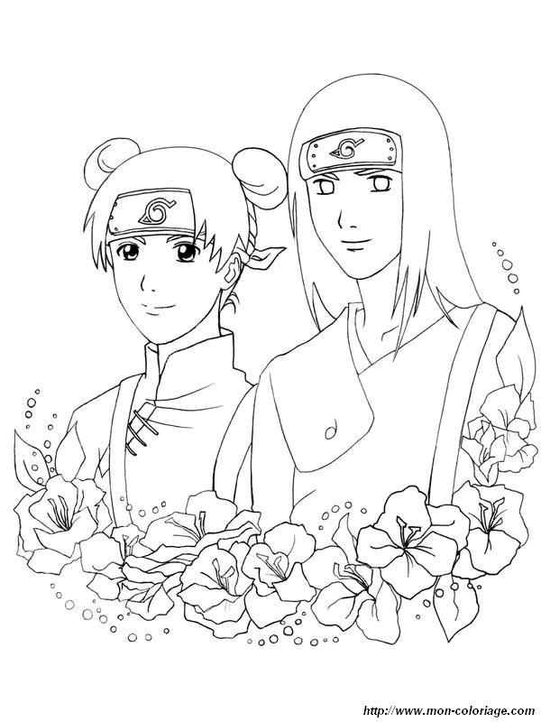 Coloriage de Naruto, dessin coloriages naruto fleurs jpg à colorier