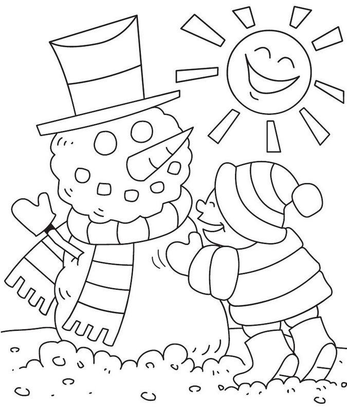 coloriage de hiver et neige dessin enfant qui fait un bonhomme de neige colorier. Black Bedroom Furniture Sets. Home Design Ideas