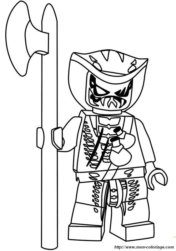 Coloriage De Ninjago Dessin Ninjago Avec Une Grande Hache A Colorier