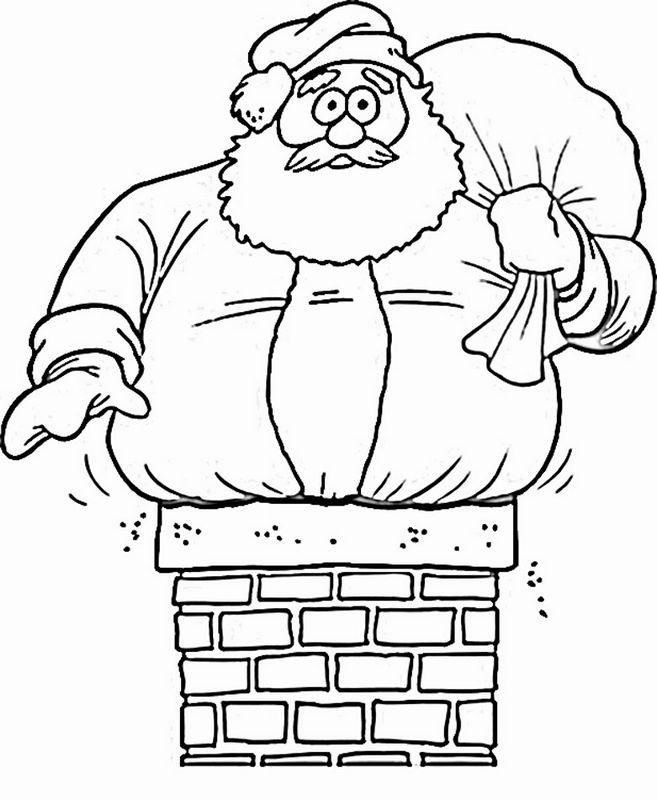 Coloriage de Noël, dessin Le pere noel est trop gros à colorier