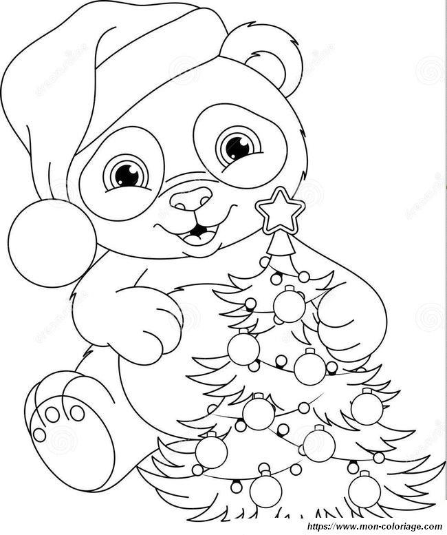 Coloriage De Noel Dessin Petit Panda Et Son Sapin A Colorier