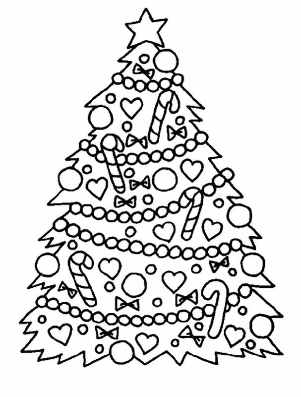 Coloriage de Noël, dessin Un beau sapin de noel à colorier