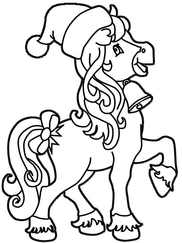 Coloriage de Noël, dessin Un cheval avec un bonà colorier