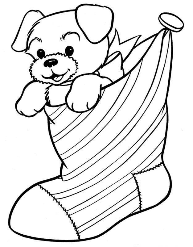 Coloriage de no l dessin un petit chien adorable en cadeau colorier - Dessin de petit chien ...