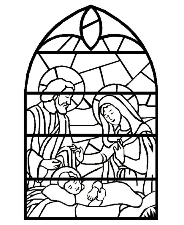 Coloriage de no l dessin vitrail de la sainte naissance colorier - Dessin vitraux ...