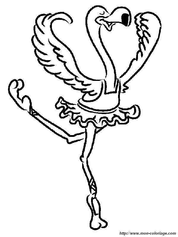 Coloriage de oiseau dessin flamand rose faisant un ballet for Flamingo coloring pages