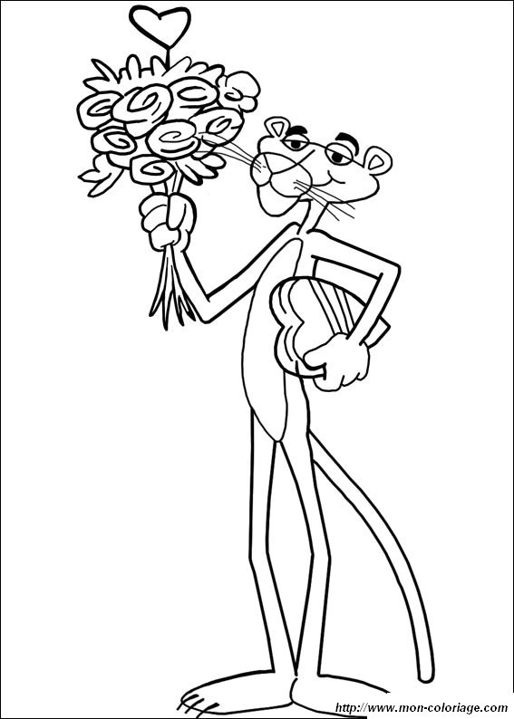 coloriage de la panth u00e8re rose  dessin coloriage la