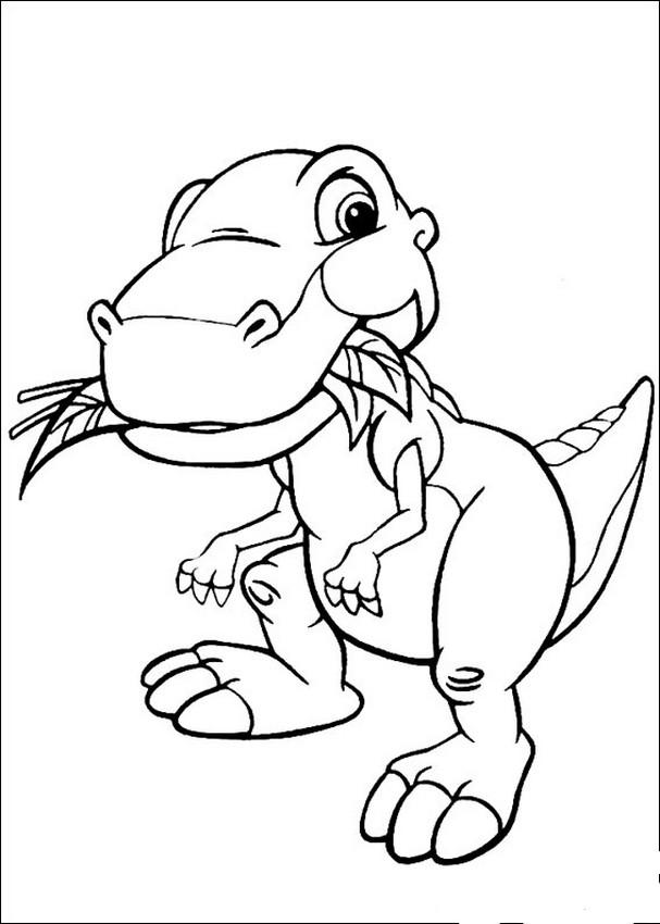 Coloriage de Le petit dinosaure, dessin Petits pieds est sympathique à colorier