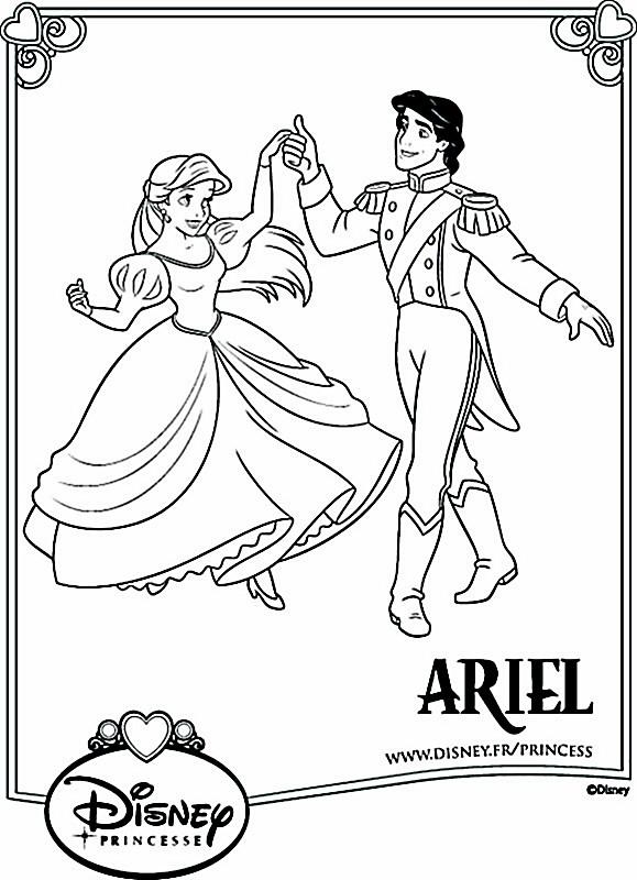 Coloriage De La Petite Sirene Dessin Ariel Avec Son Prince