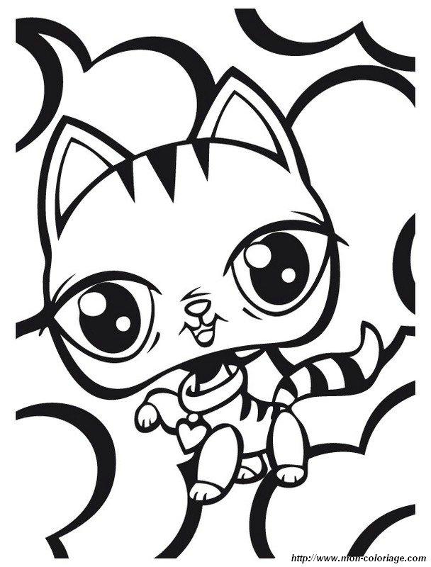 Coloriage de petshop dessin chaton petshop avec un petit - Petshop chaton ...