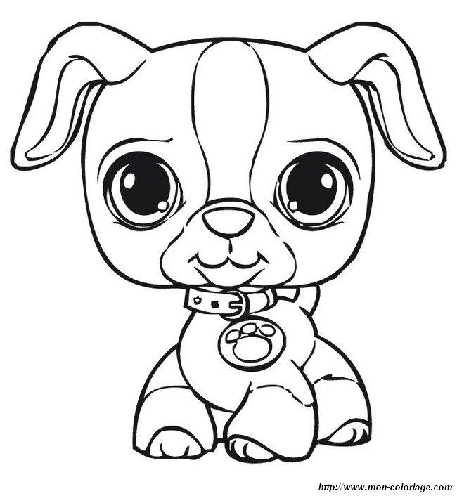Coloriage de petshop dessin chiot avec un beau collier - Dessin pet shop ...