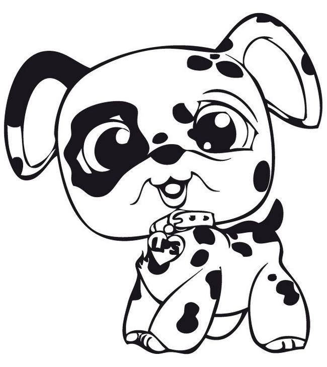 Coloriage de petshop dessin littlest pet shop chien dalmatien colorier - Coloriage dalmatien ...