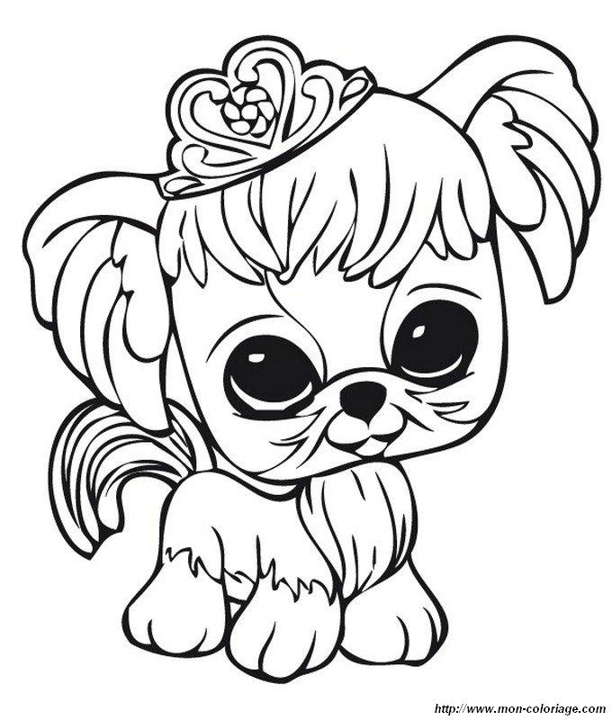 Coloriage de petshop dessin petit chien avec une couronne colorier - Dessin de petit chien ...