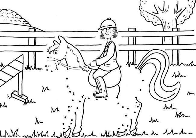 Coloriage De Points à Relier Dessin Equitation Pour Jeune