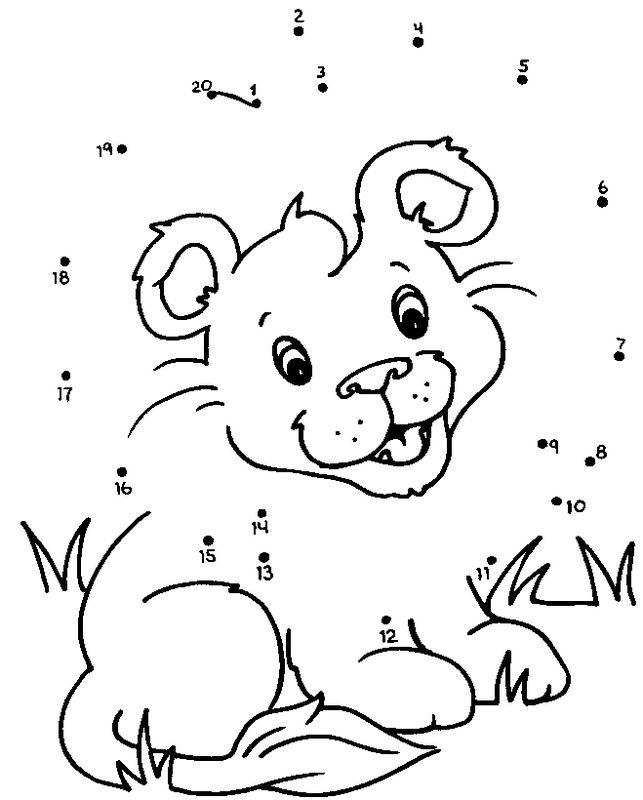 Coloriage de points relier dessin lionceau dans la - Dessin de savane ...