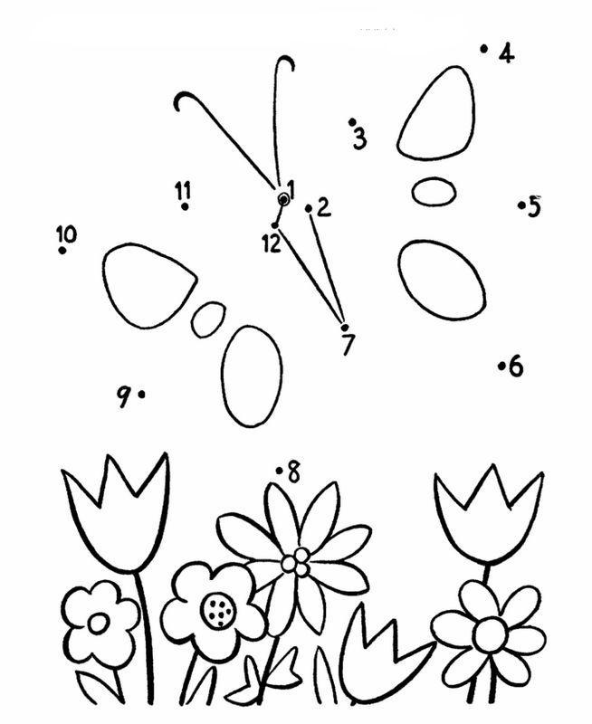 coloriage de points  u00e0 relier  dessin papillon et fleurs diverses  u00e0 colorier