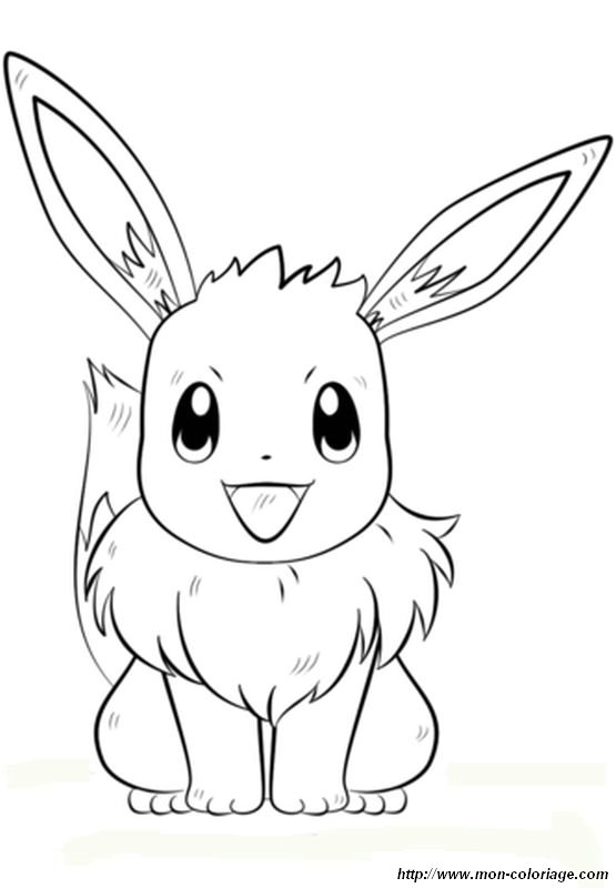 Coloriage de pok mon dessin le pokemon evoli colorier - Pokemon famille pikachu ...