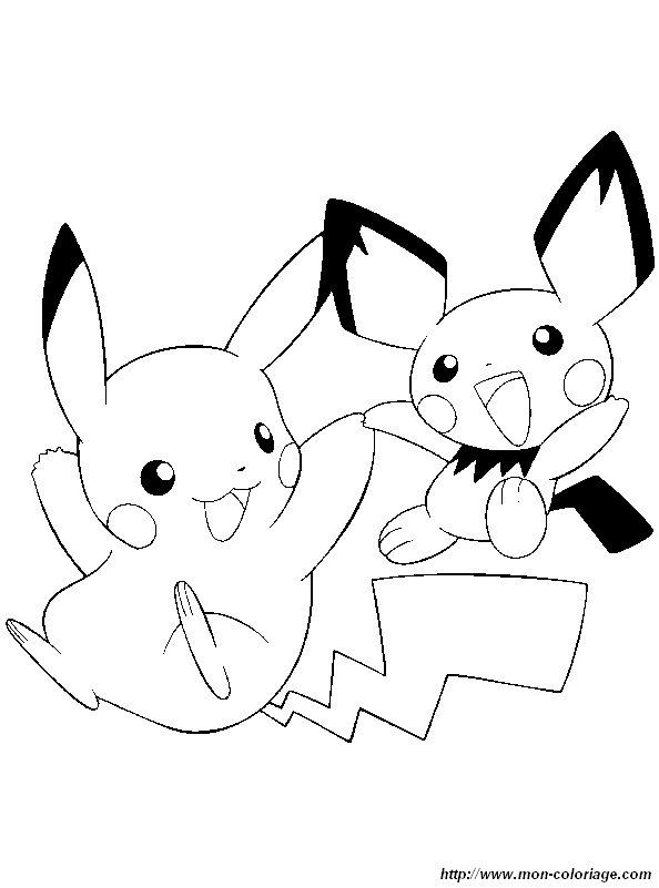 coloriage pokemon pikachu pichu - Coloriage Com