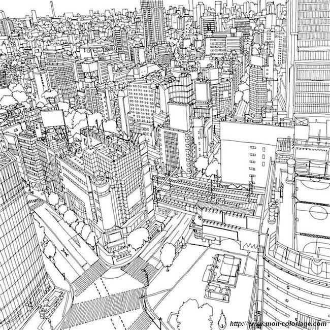 Coloriage de pour adultes dessin coloriage ville - Coloriage ville ...