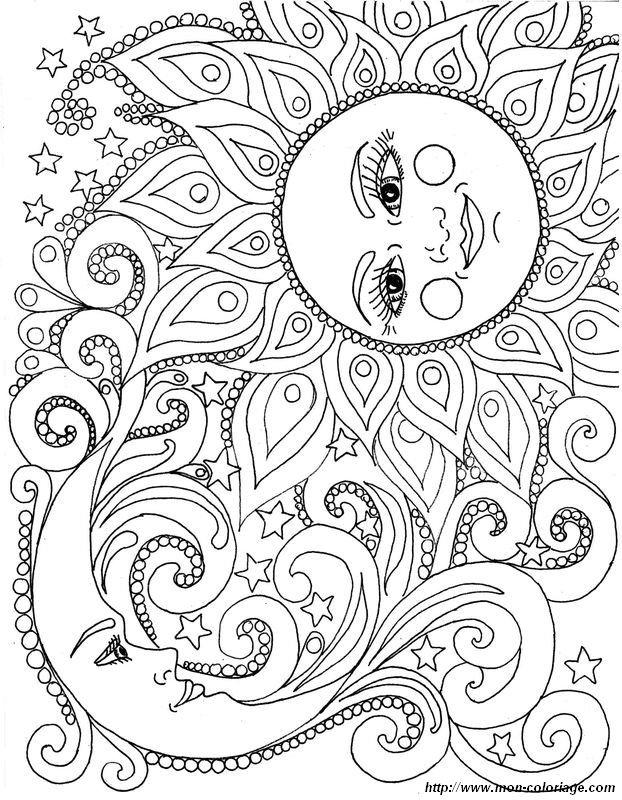 Coloriage Adulte Soleil.Coloriage De Pour Adultes Dessin Le Soleil Et La Lune A Colorier
