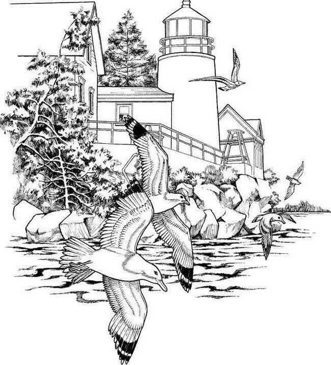 Coloriage de pour adultes dessin paysage de bord de mer - Coloriage paysage mer ...