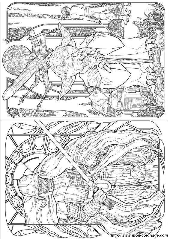 Coloriage De Pour Adultes Dessin Star Wars Maitre Yoda Et