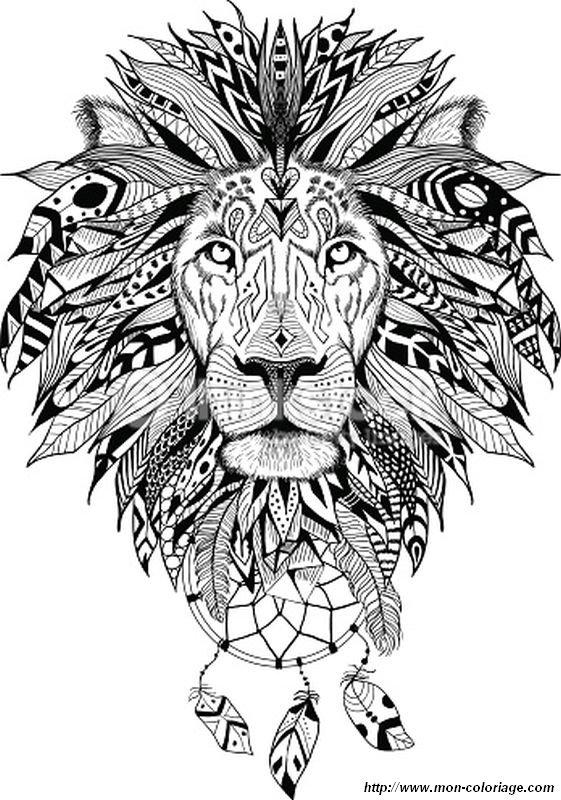 Coloriage de pour adultes dessin un lion magnifique et sa toison colorier - Coloriage magnifique ...
