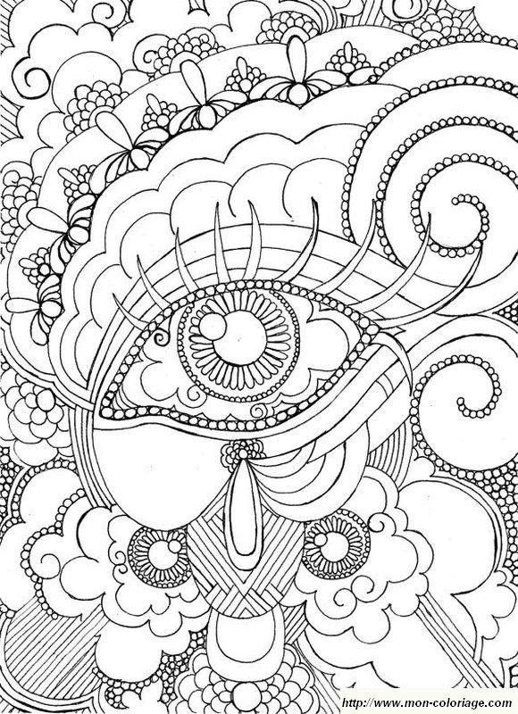 Coloriage de pour adultes dessin un oeil pour le colorier - Oeil a colorier ...