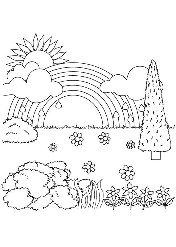 Coloriage de pour enseignants dessin paysage de nature - Dessin de nature ...