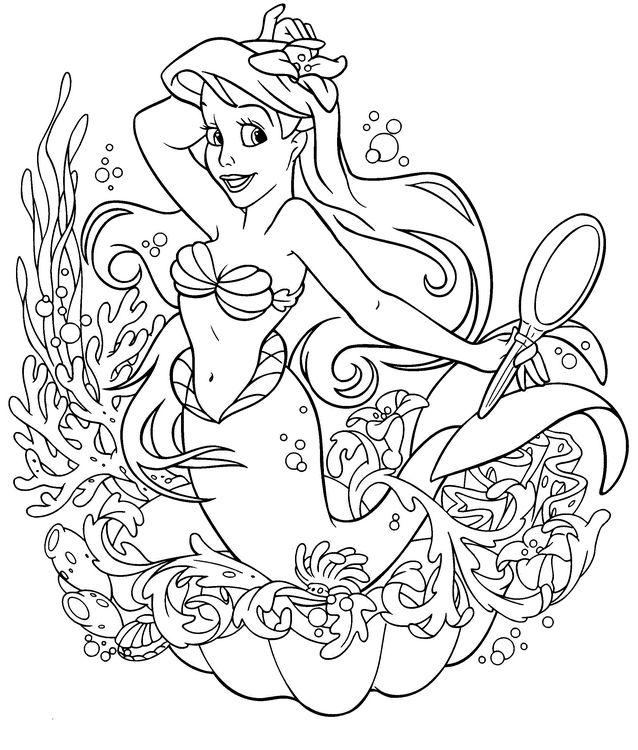 Coloriage de princesse et prince dessin ariel la petite - Coloriage arielle la petite sirene ...