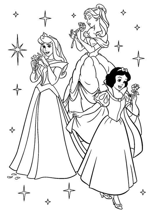 Coloriage de princesse et prince dessin blanche neige cendrillon et la belle au bois dormant - La belle au bois dormant coloriage ...